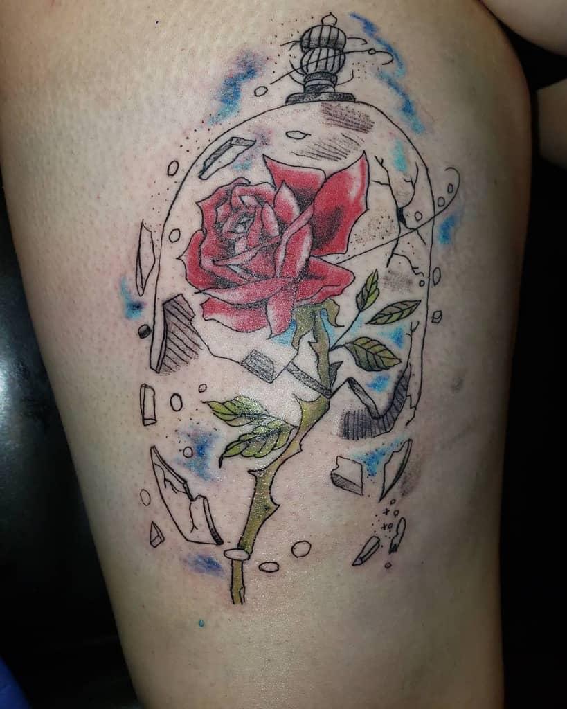 vitrail beauté et la bête rose tatouages mrjoetattoo