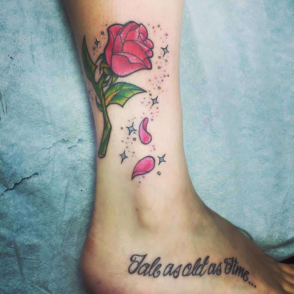 conte aussi vieux que le temps beauté et la bête rose tatouages princesse.hilla