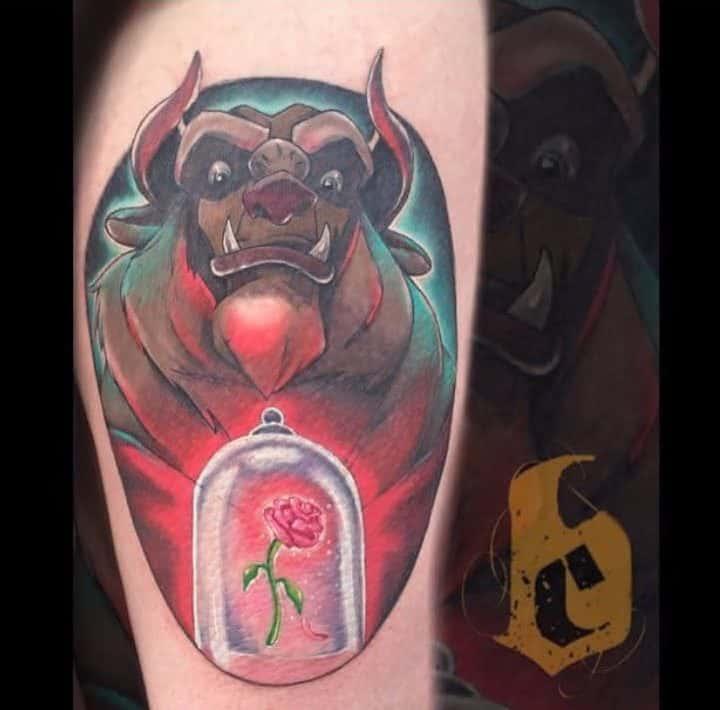 vitrail beauté et la bête rose tatouages psycho.jay