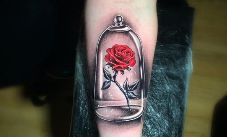 Top 71 Beauty and The Beast Rose Tattoo Ideas – [2020 Inspiration Guide]