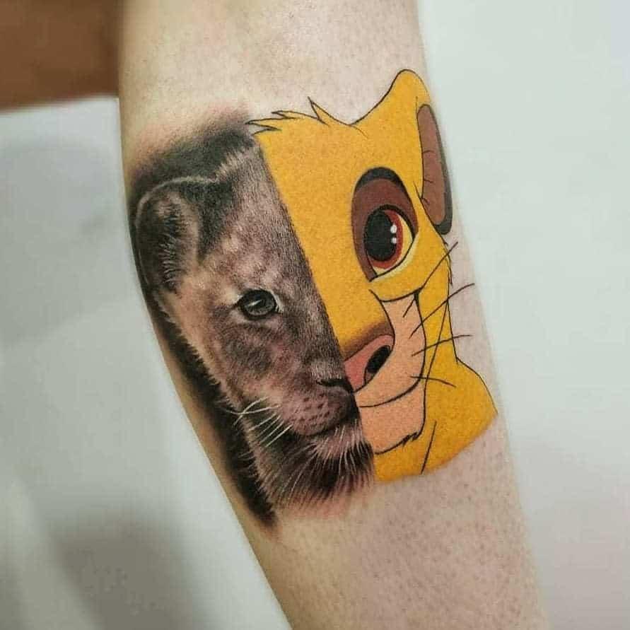 Petits tatouages du roi lion Disney juillet.brandao