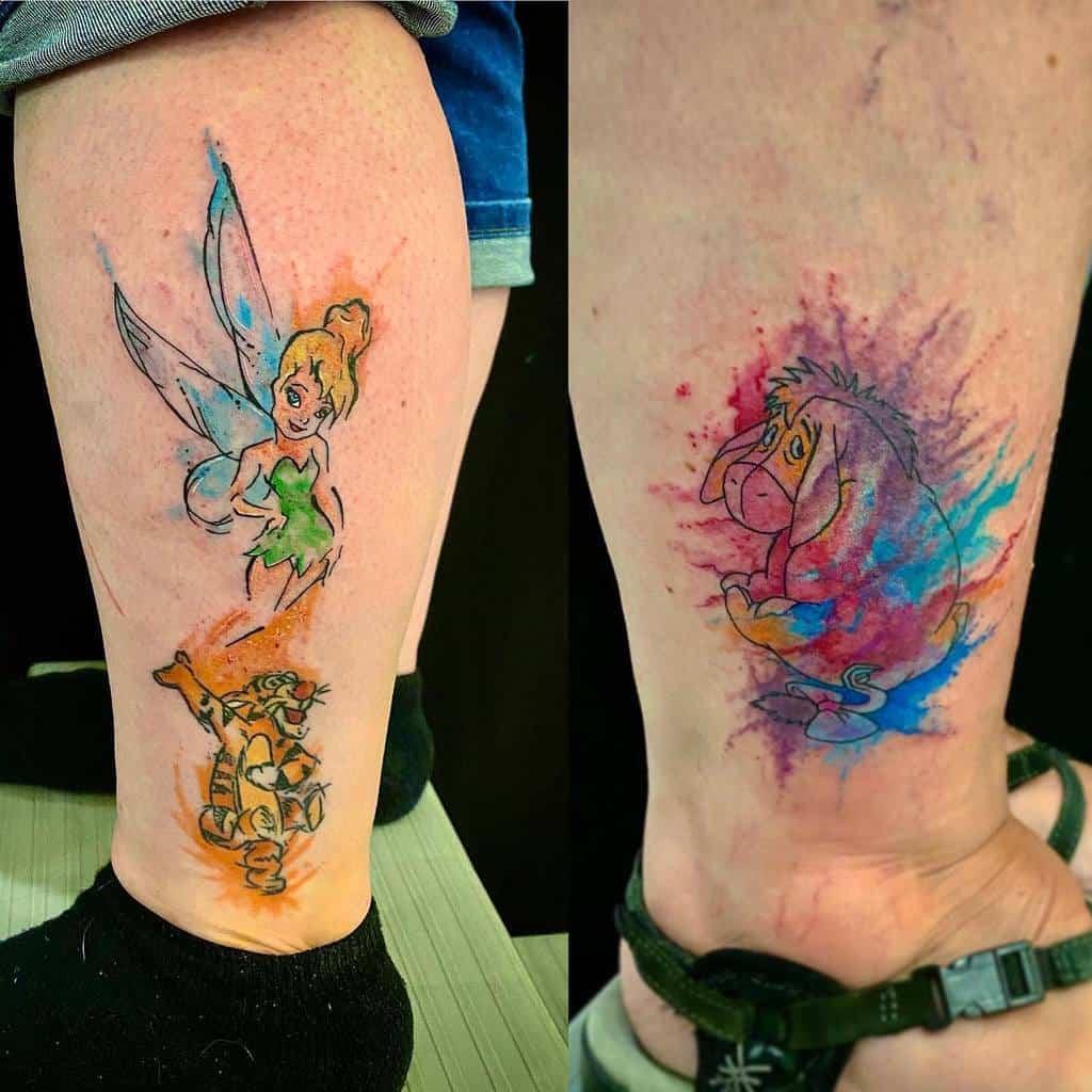 Petits tatouages Disney à l'aquarelle rashatattoo