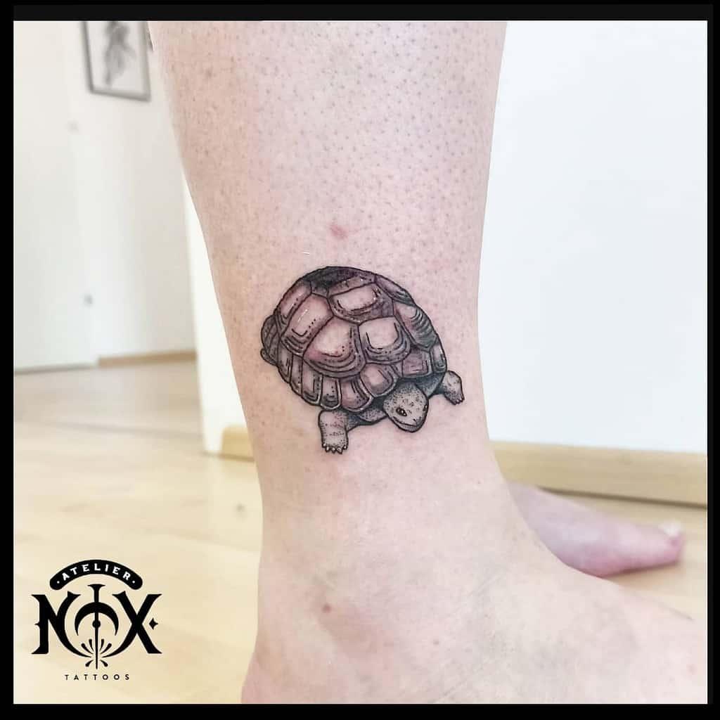 Petits tatouages de cheville de tortue atéliernox