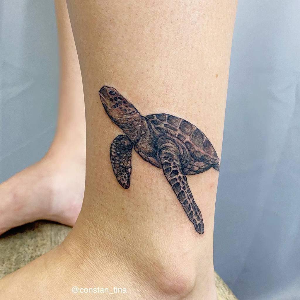 Petits tatouages de cheville de tortue constan_tina