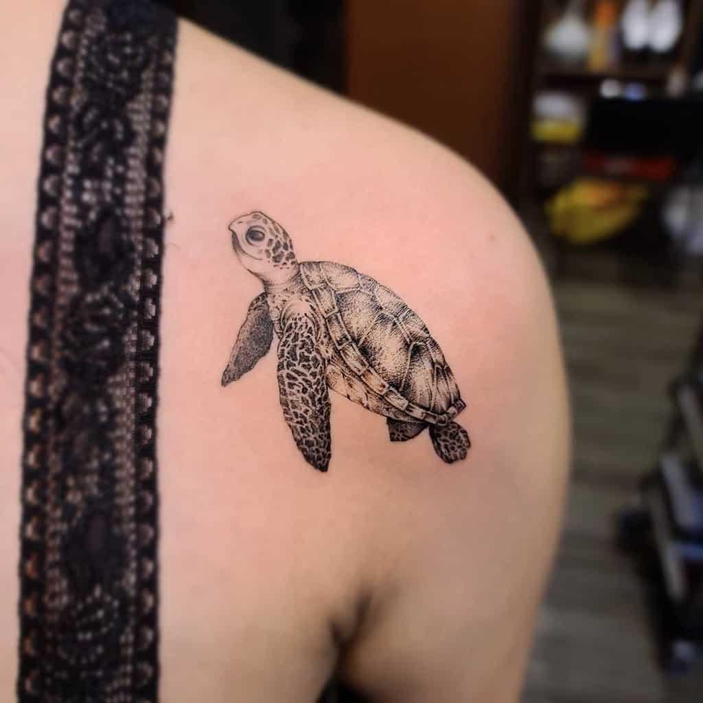 Tatouages de petites tortues réalistes jz_tattoo