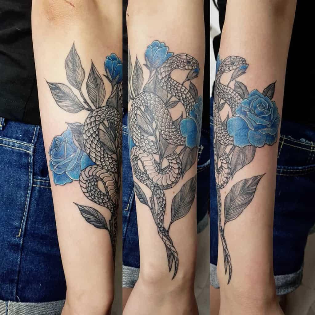 avant-bras rose bleue tatouages ho_tattoo