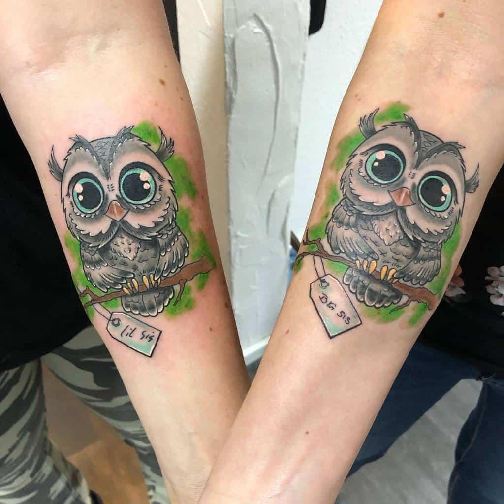 Tatouages d'avant-bras de petits hiboux liquid_ink_tattoo