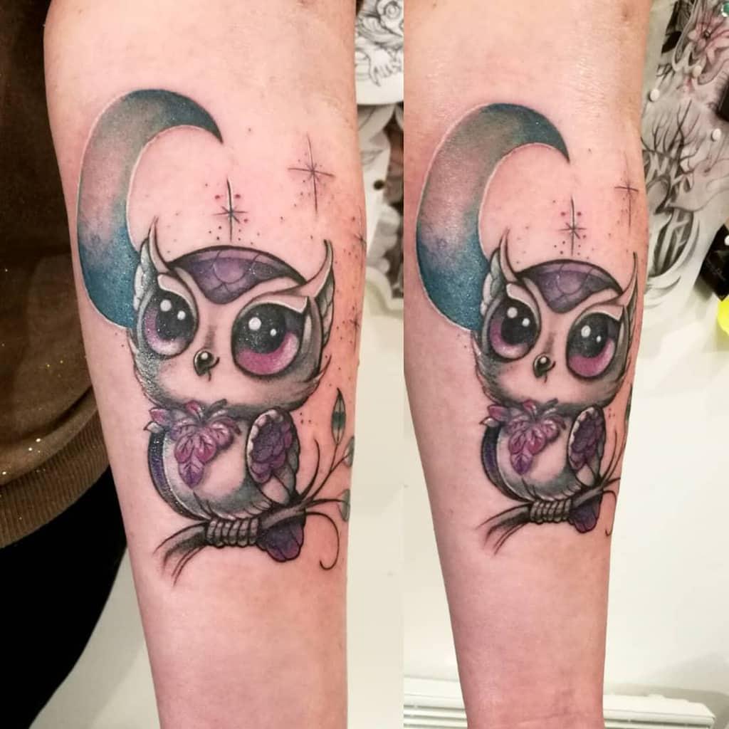 Tatouages de petites chouettes colorées mademoiselle_hirondelle
