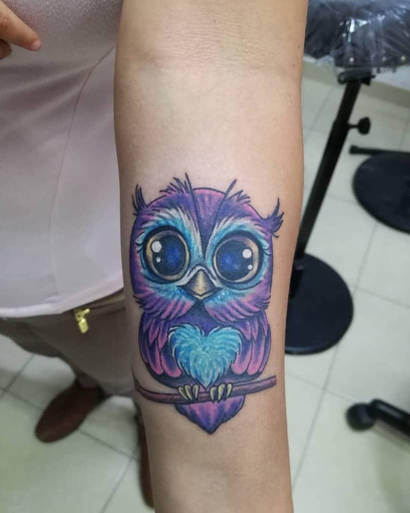 Tatouages d'avant-bras de petites chouettes kemeltattoo