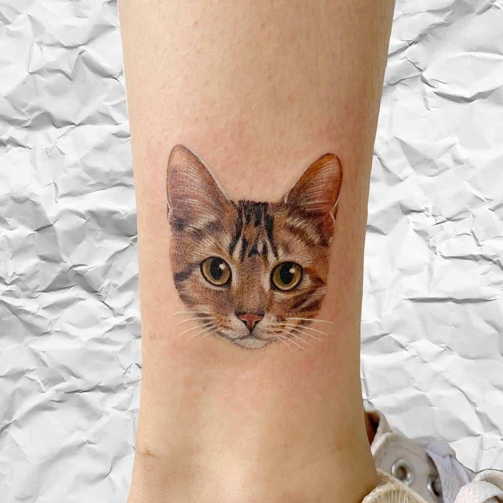 Tatouages de cheville de petit chat tappymao