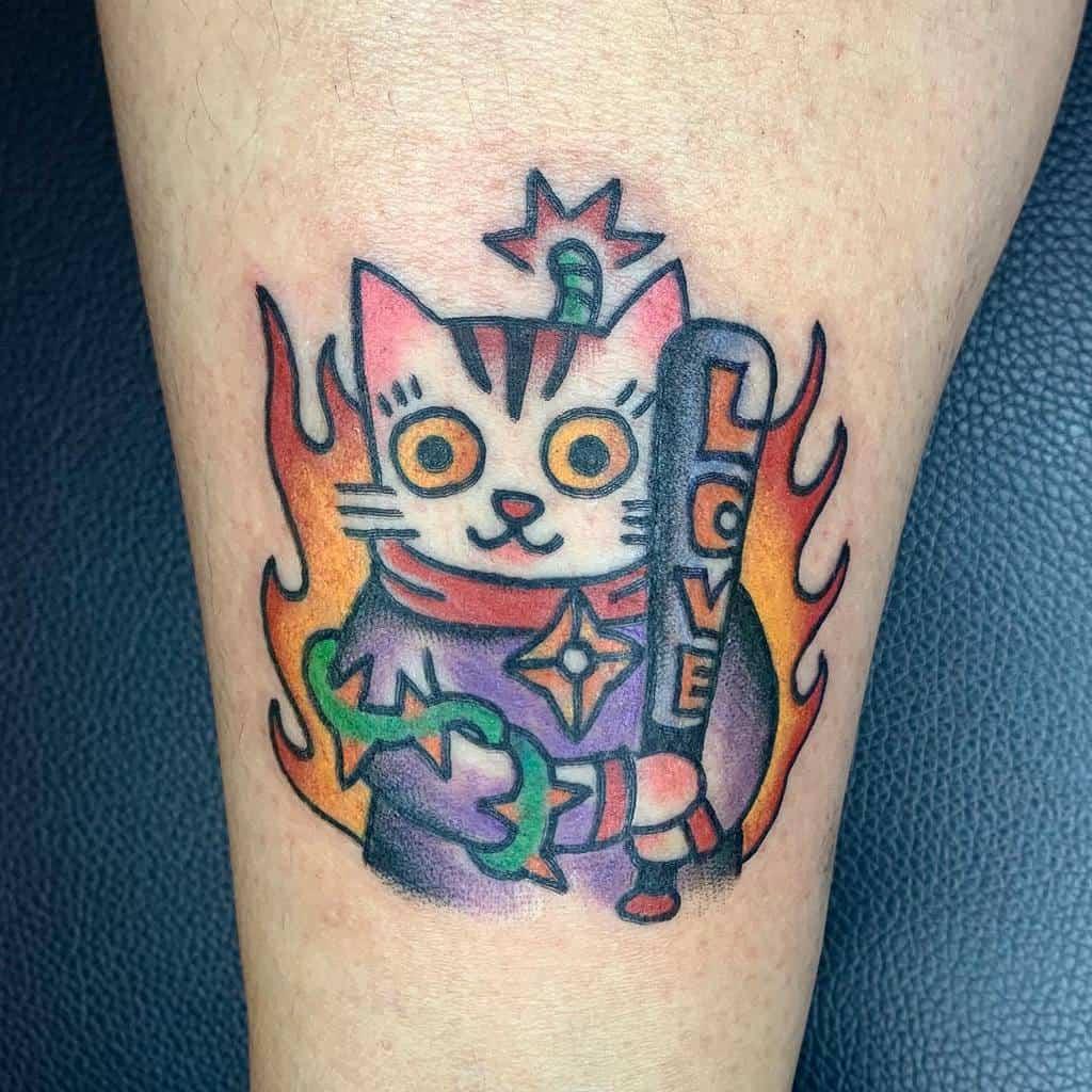 Tatouages de petits chats colorés sssgoddog