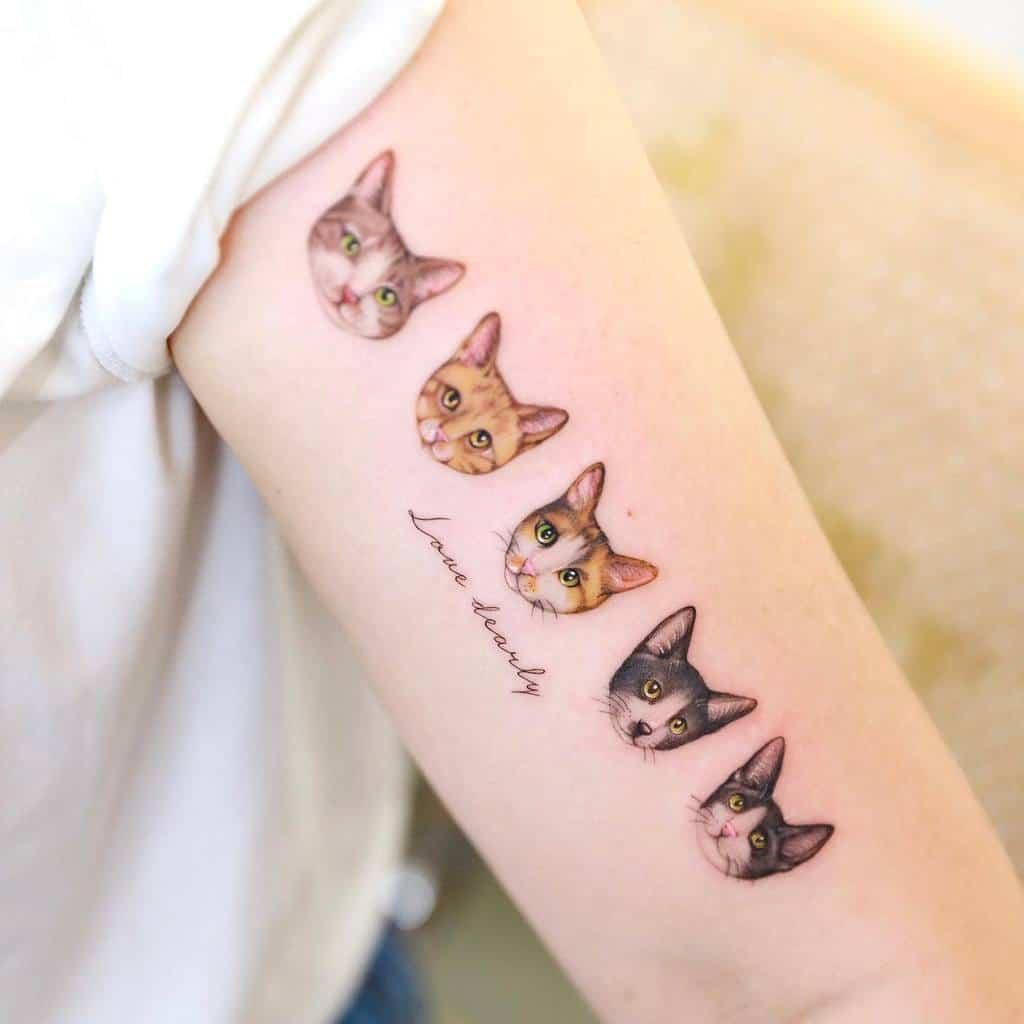 Tatouages de petits chats sur les bras xiso_ink