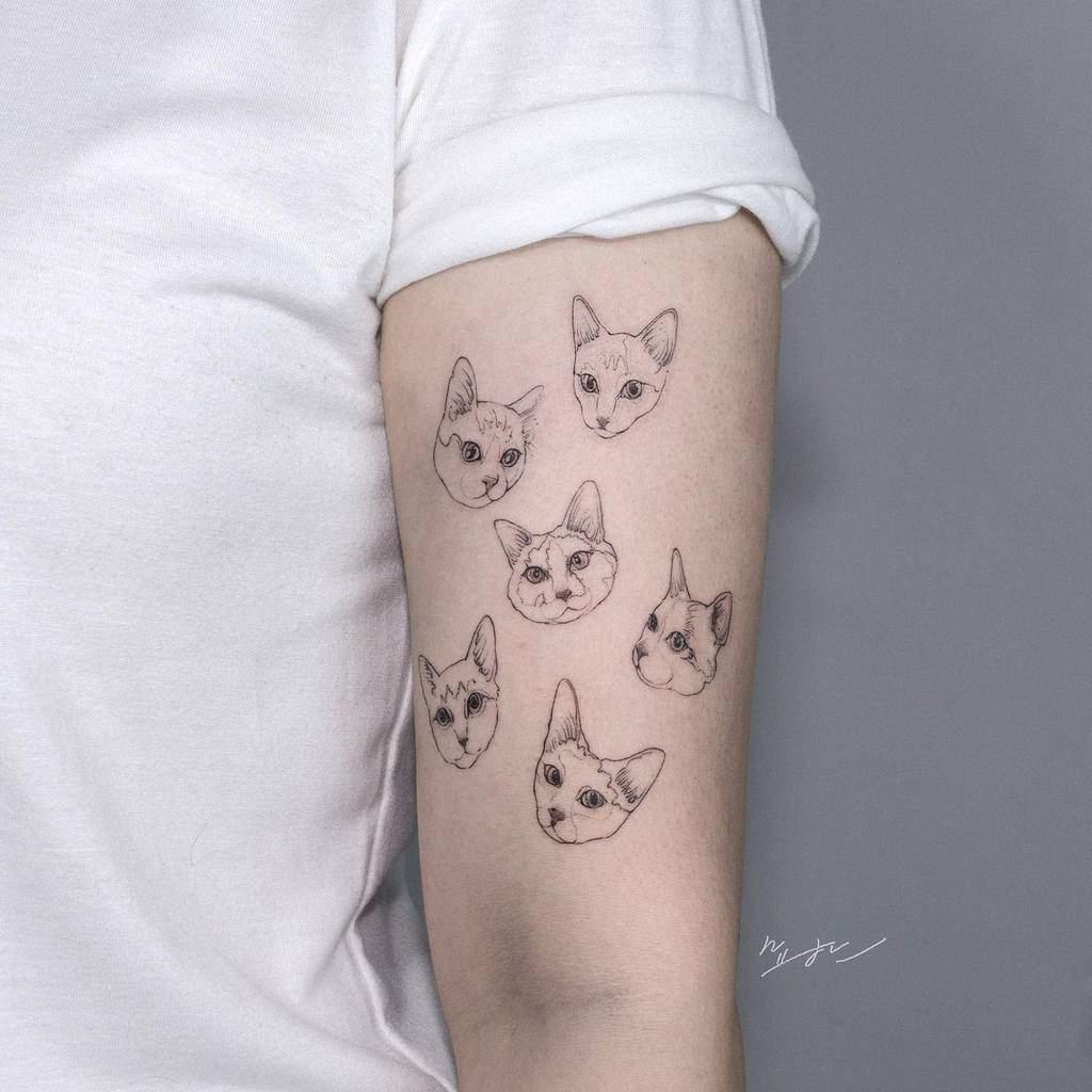 Tatouages de petits chats à bras supérieur kimyohan_tattoo