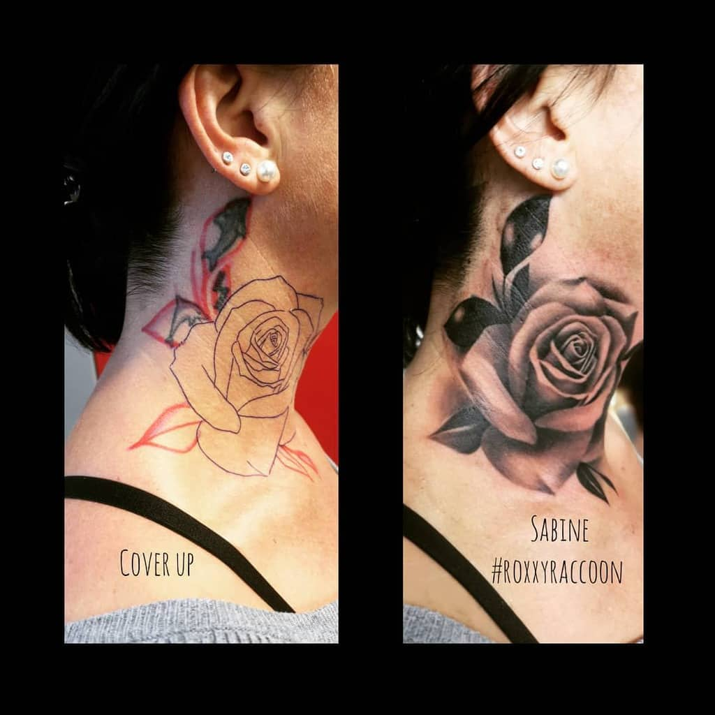 Tatouages à l'ombre du cou de rose roxxyraccoon