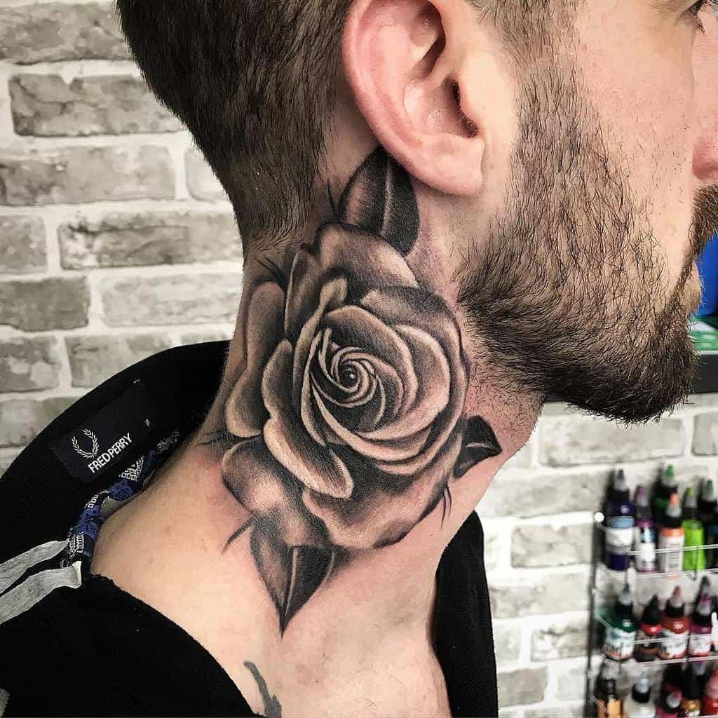 blackwork rose neck tattoos tattoosbyfluffltd