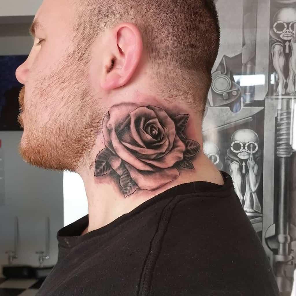 blackwork rose neck tattoos regeneratesstudio