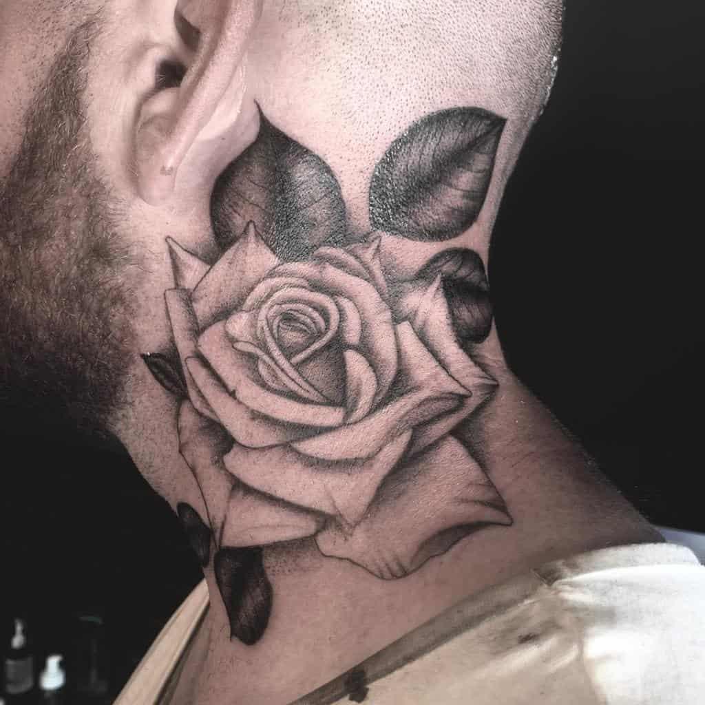 tatouages en col de rose blackwork dotworktomtattoo