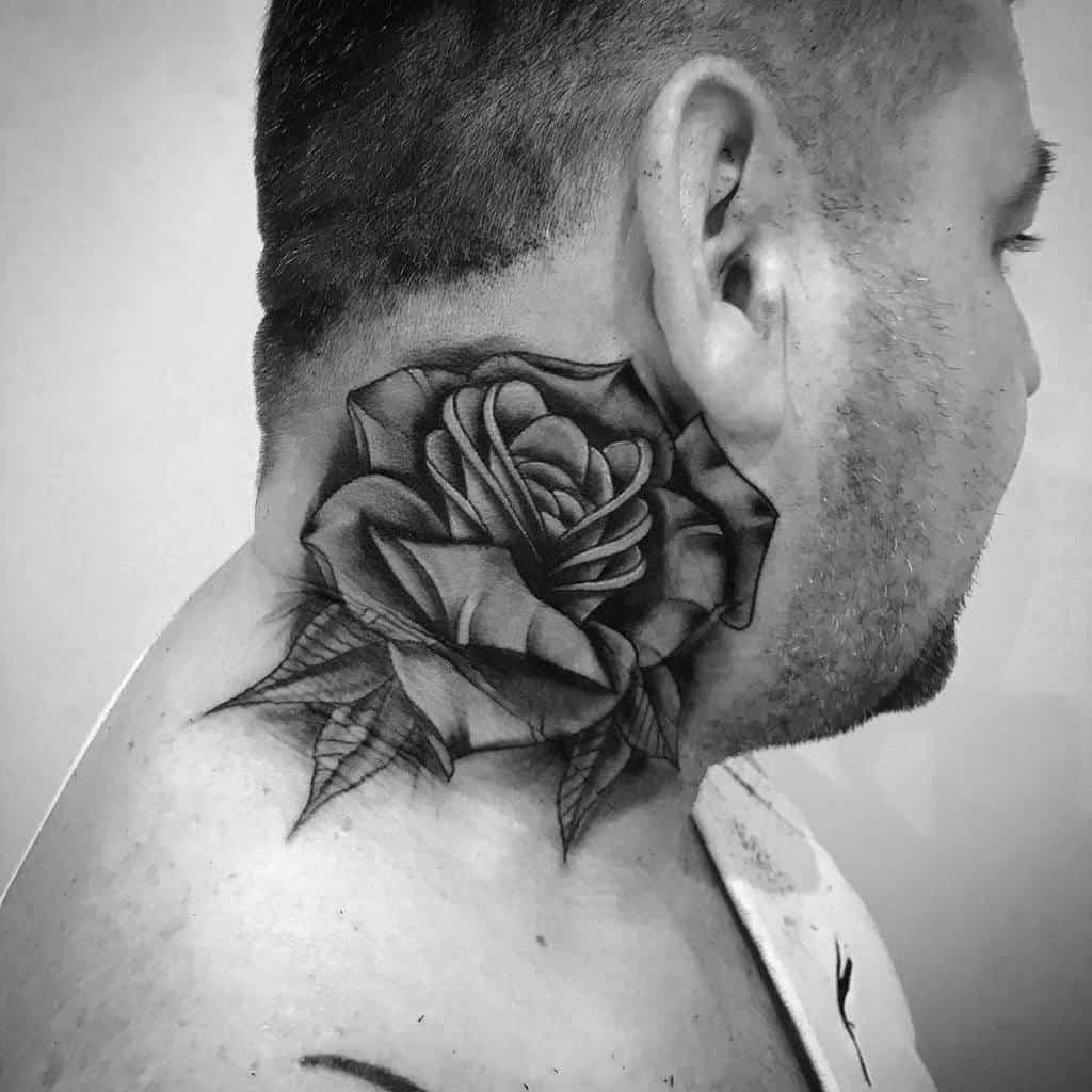 blackwork tatouages col rose russe__ink