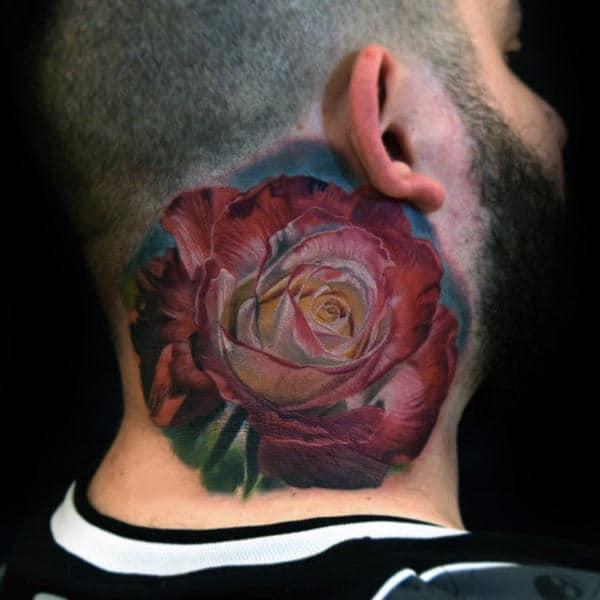 nextluxury realistic 2 tatouages de cou de rose