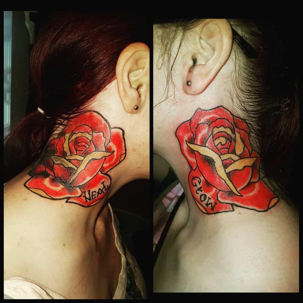 Tatouages à l'aquarelle en col de rose, lignes de sacredboldlines