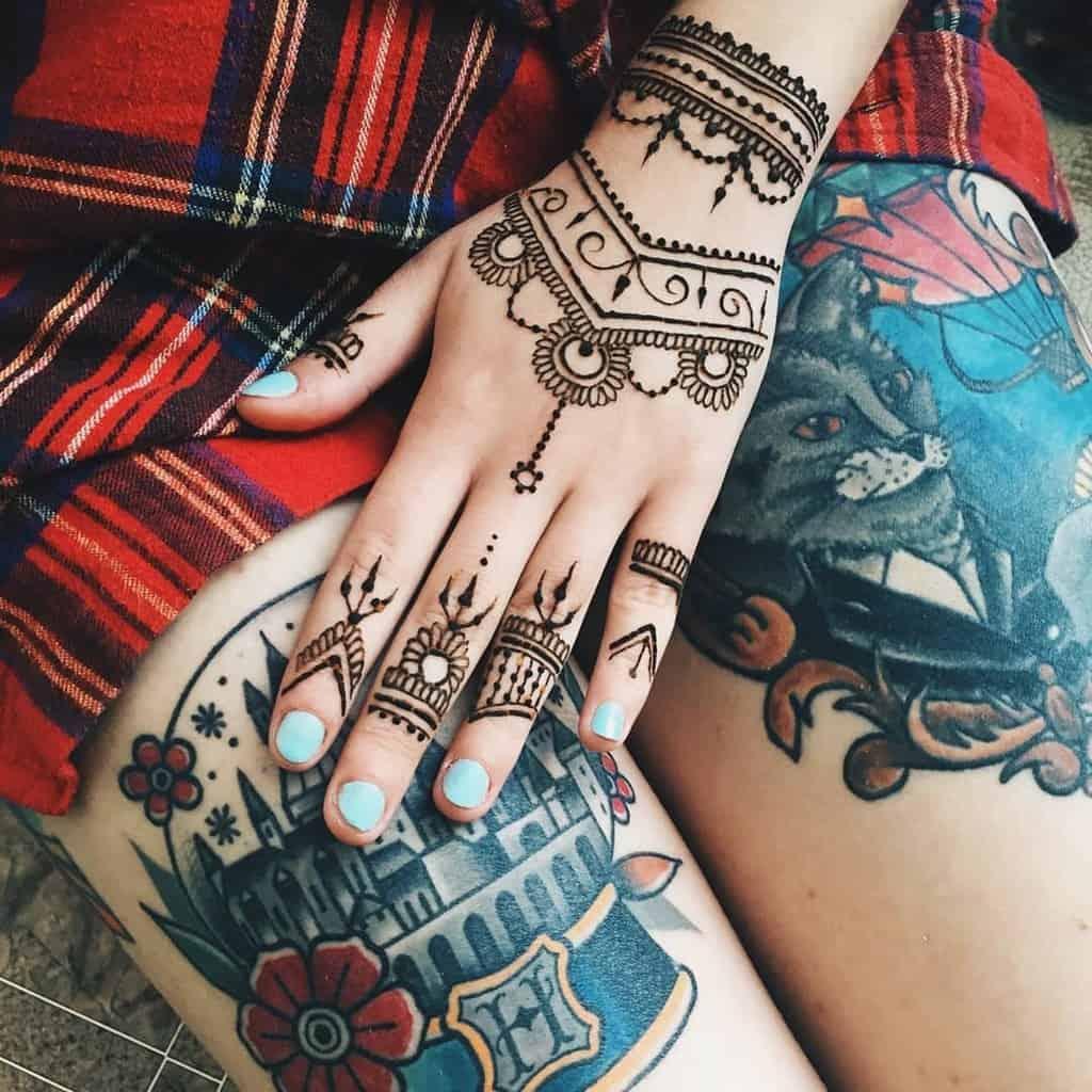 Tatouages de doigts de petits mandalas