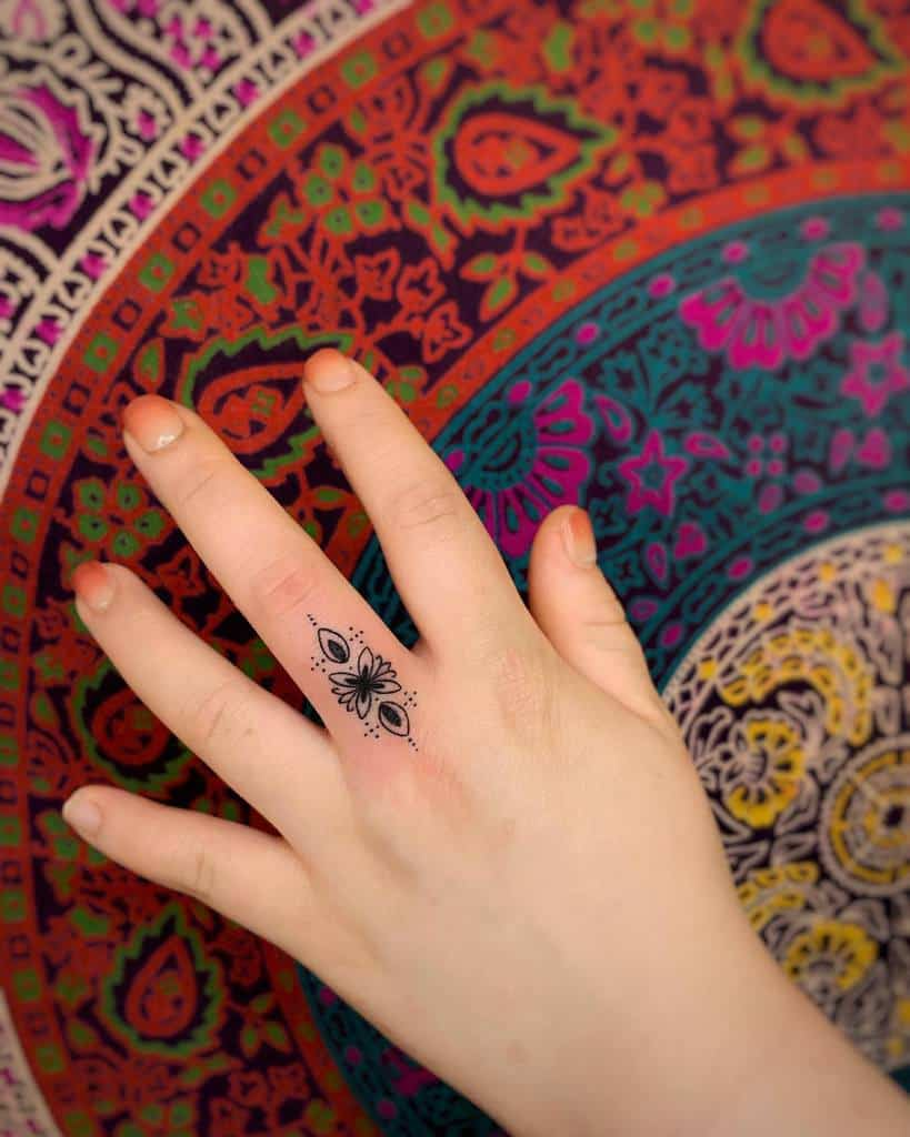 Tatouages des doigts de la petite ornementation Mandala tattooist_rangse