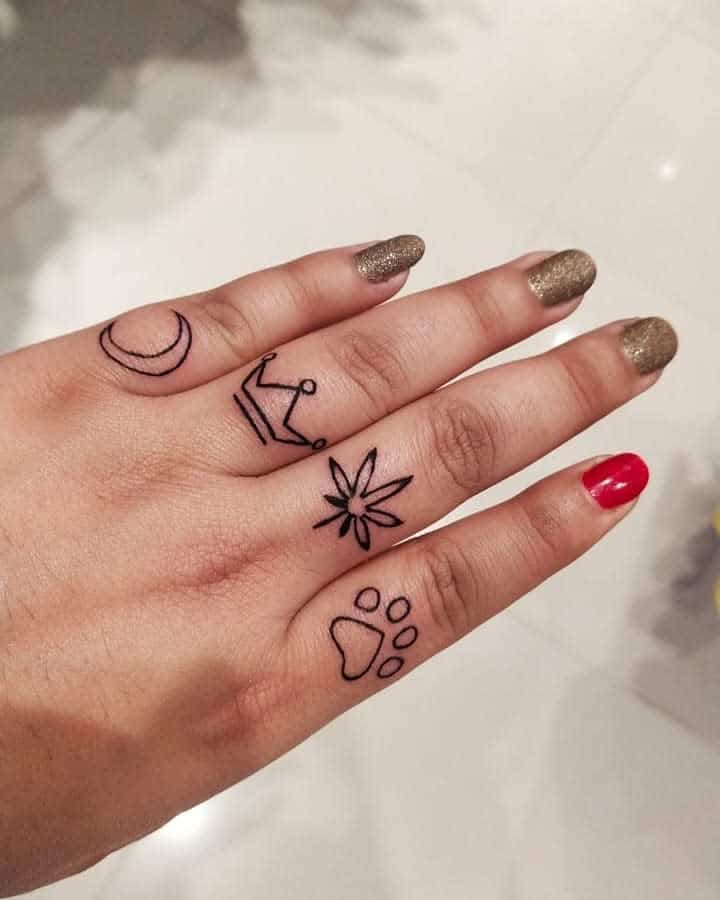 Tatouages de doigts à petits symboles 34inkredibletattoo