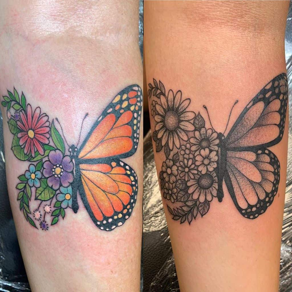 Tatouages d'avant-bras de petits papillons Inkinasterisk