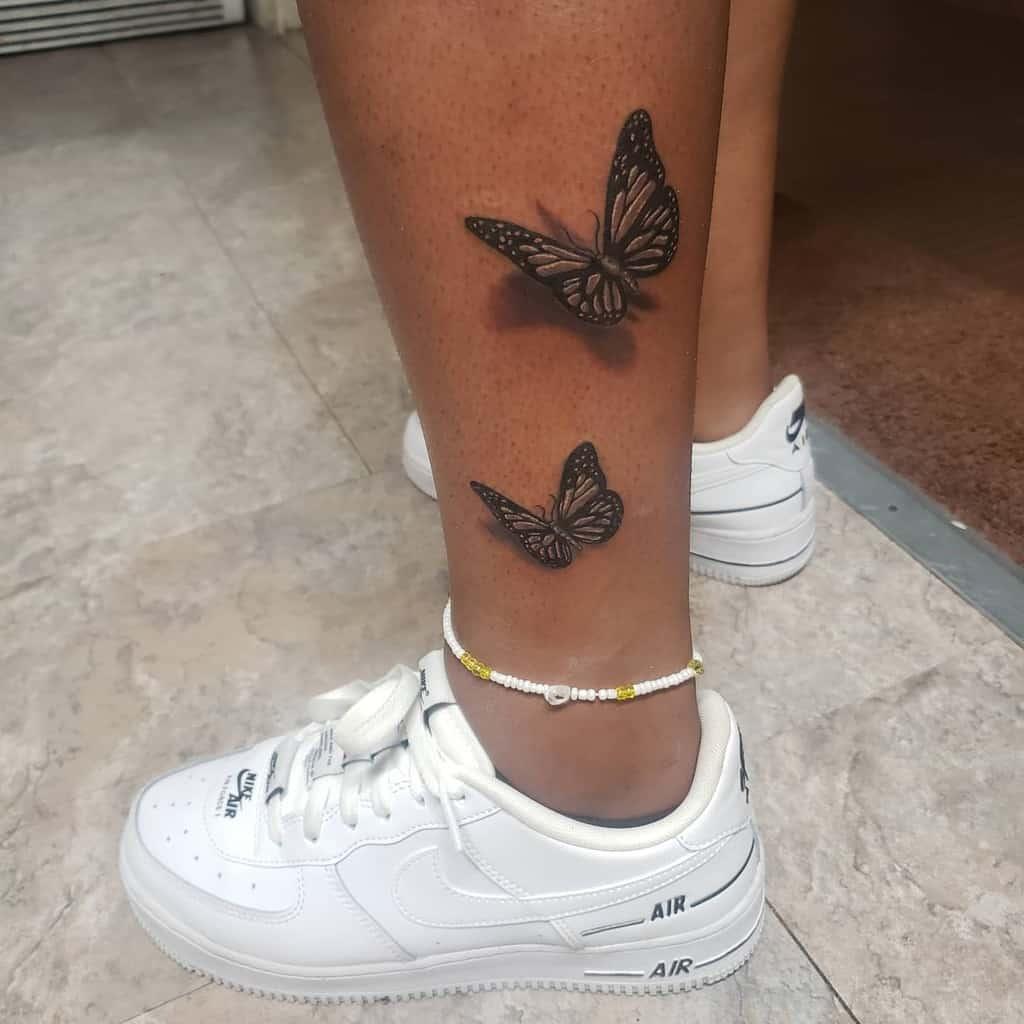 Tatouages de cheville de petits papillons Moe.tattoos