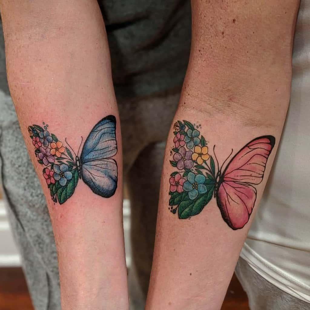 Tatouages d'avant-bras de petits papillons Unicornie Love