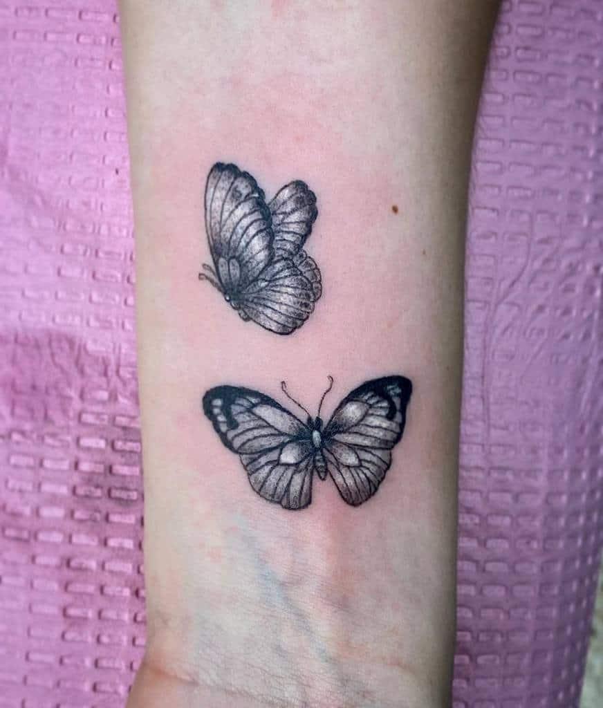 Tatouages de poignets de petits papillons Noluckjedi