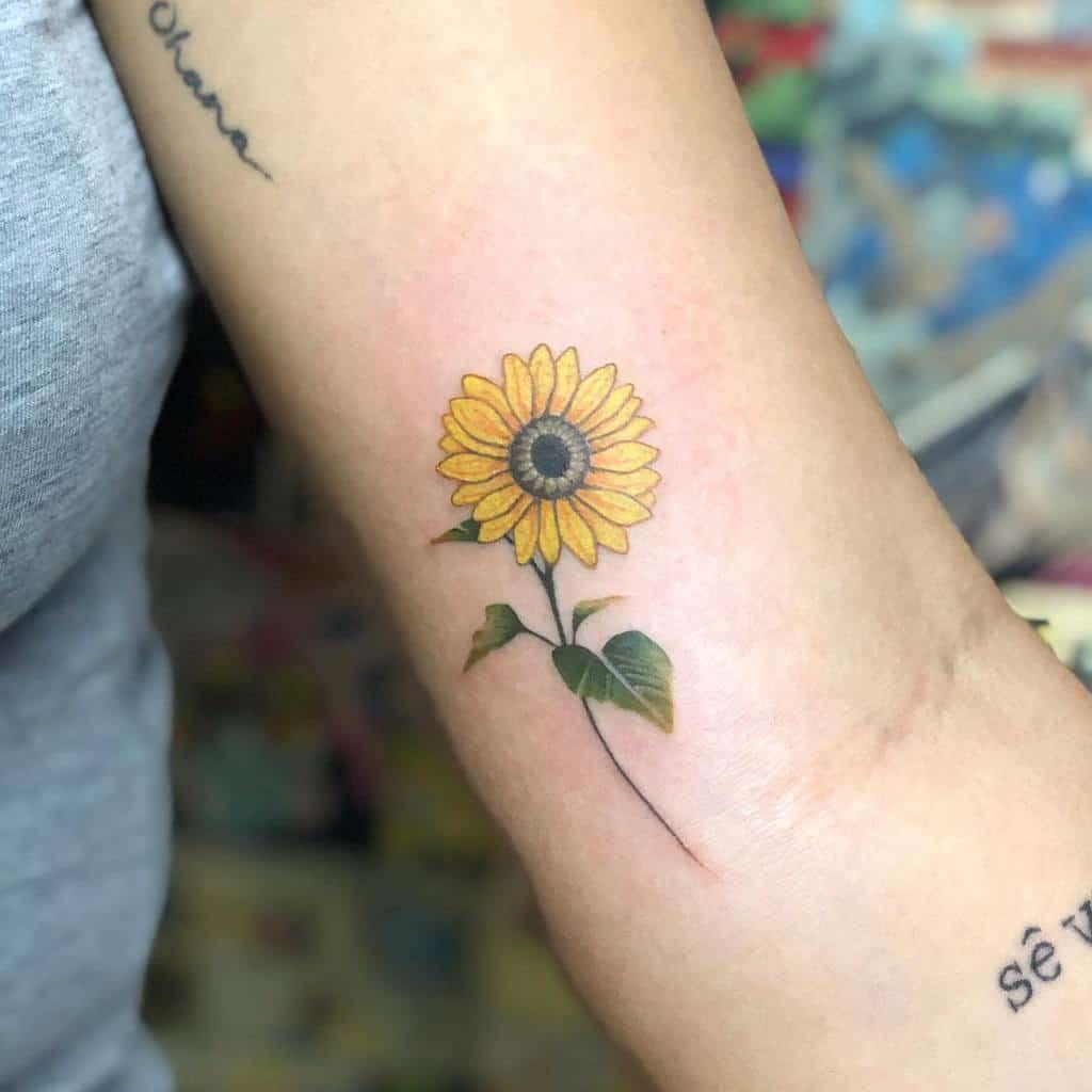 Petit tatouage de tournesol sur le bras Diego Buddhattoo
