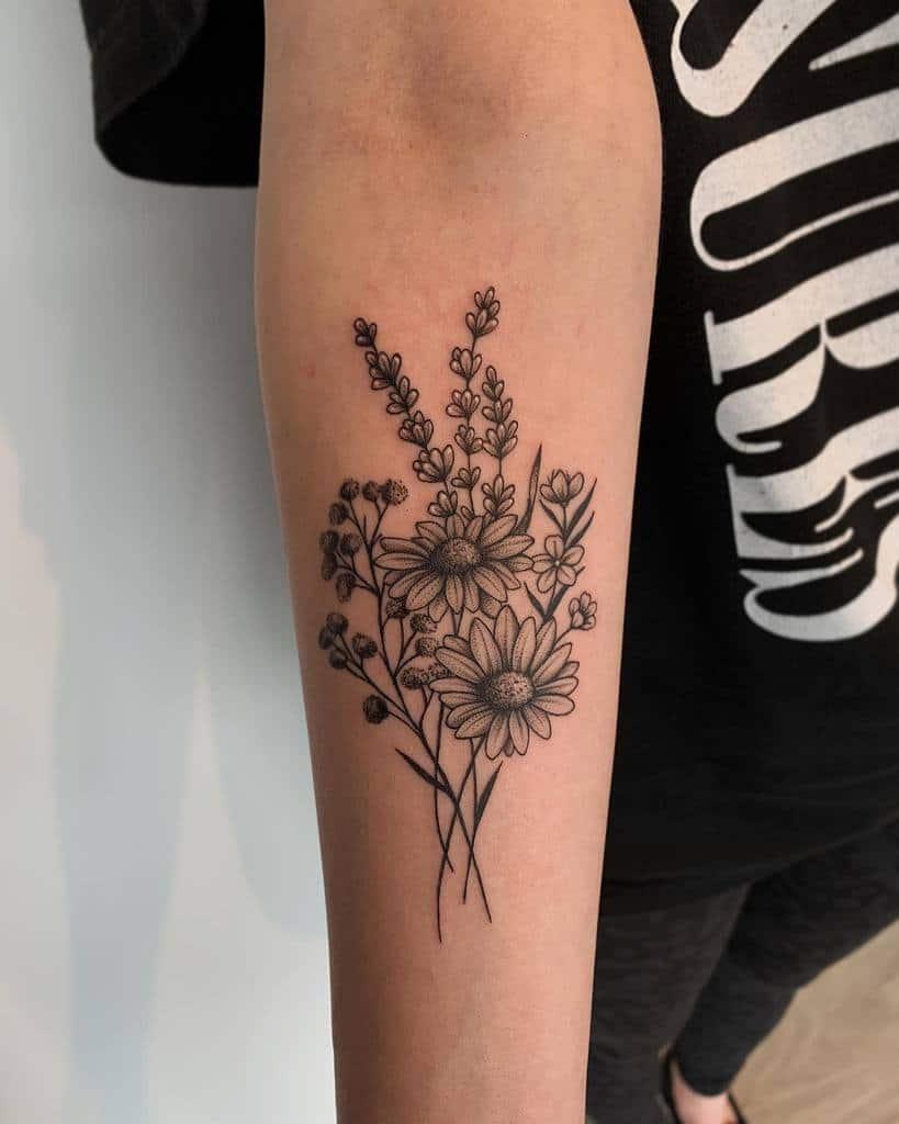 Tatouages d'avant-bras à petites fleurs Tatouages de Rissa