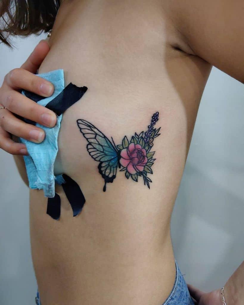Tatouages de côtes de petites fleurs Cbtattoo Art