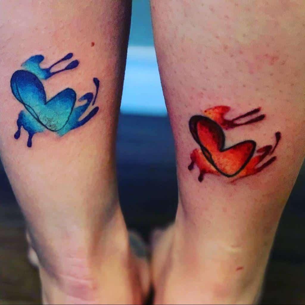 Tatouages de petits cœurs colorés Sheldonkb34