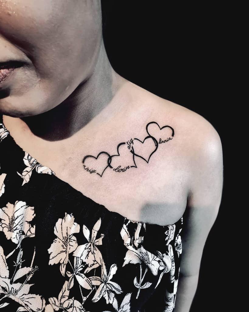 Tatouages des petites épaules du cœur Tiranatouage