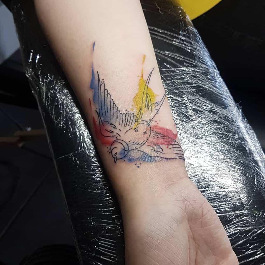 Tatouages de poignets de petits oiseaux Theculttattoo