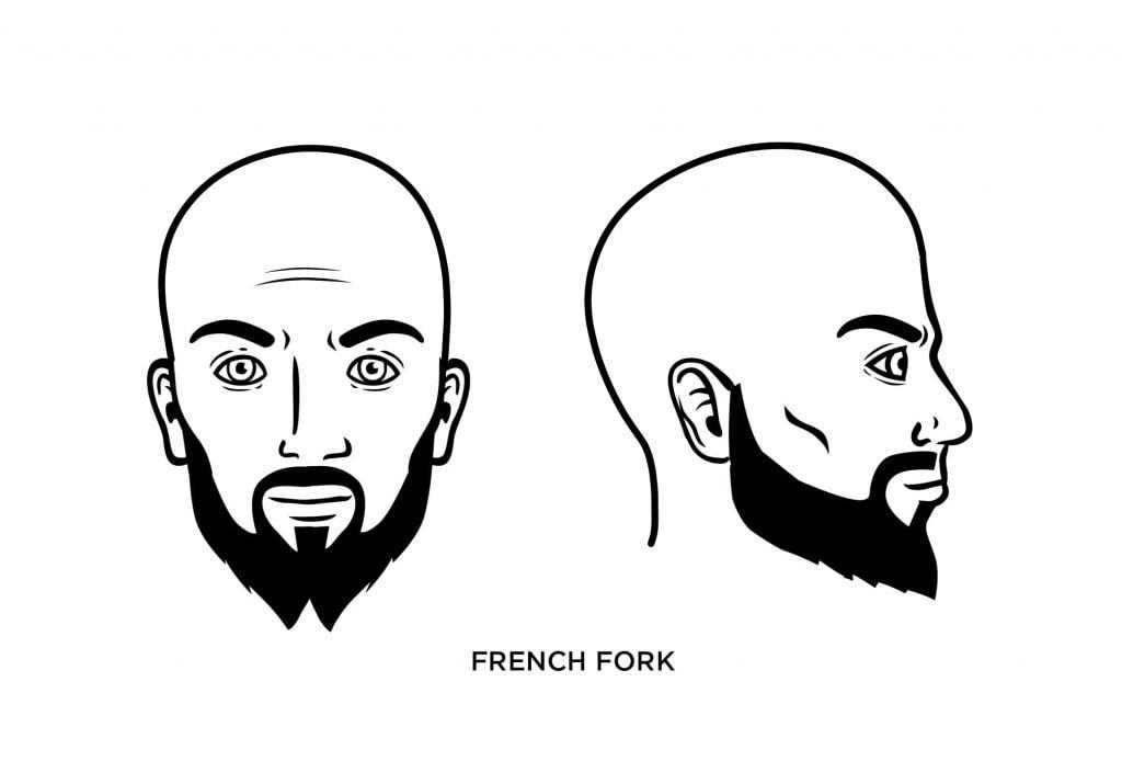 homme chauve avec une barbe de fourchette française