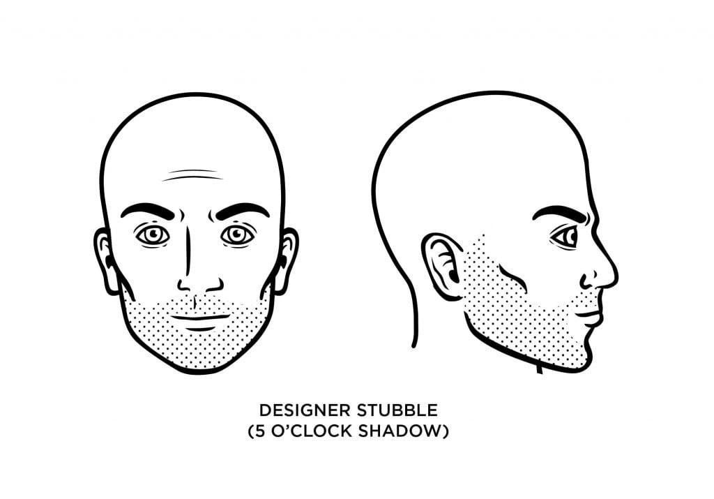 homme chauve avec une barbe de créateur d'ombres à 5 heures