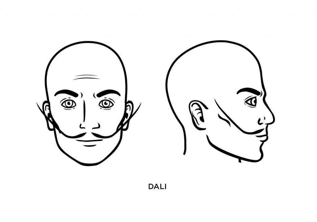 homme chauve avec une moustache de Dali