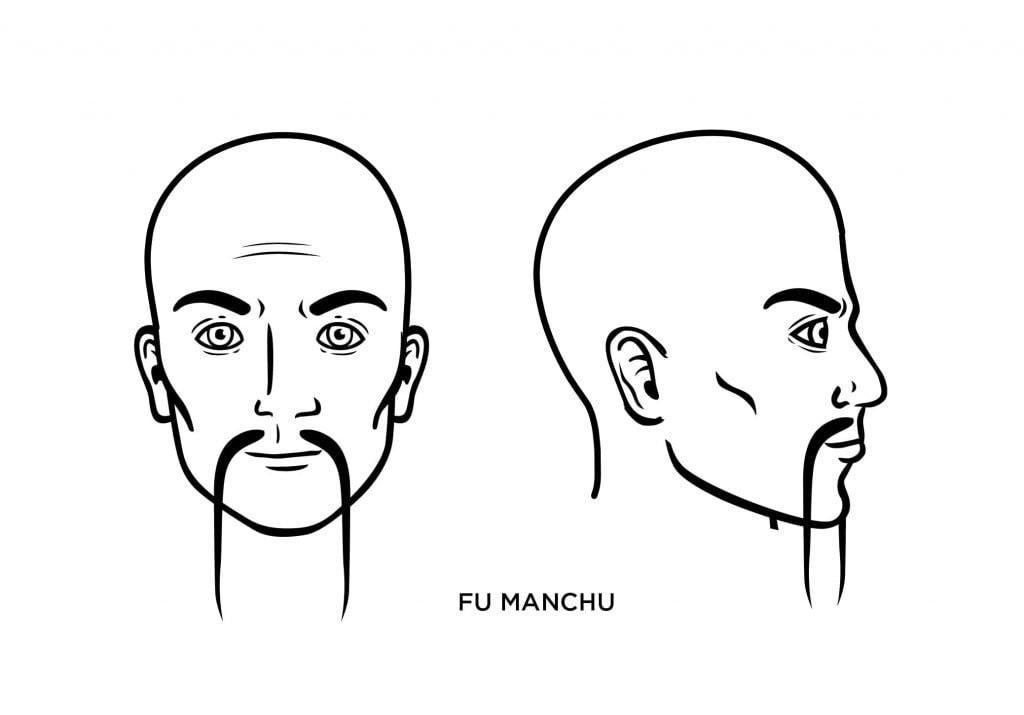 homme chauve avec une moustache de Fu Manchu