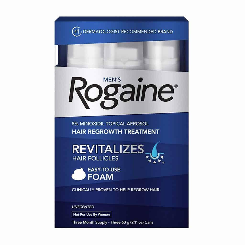 Rogaine pour hommes 5% de mousse de minoxidil pour la perte et la repousse des cheveux
