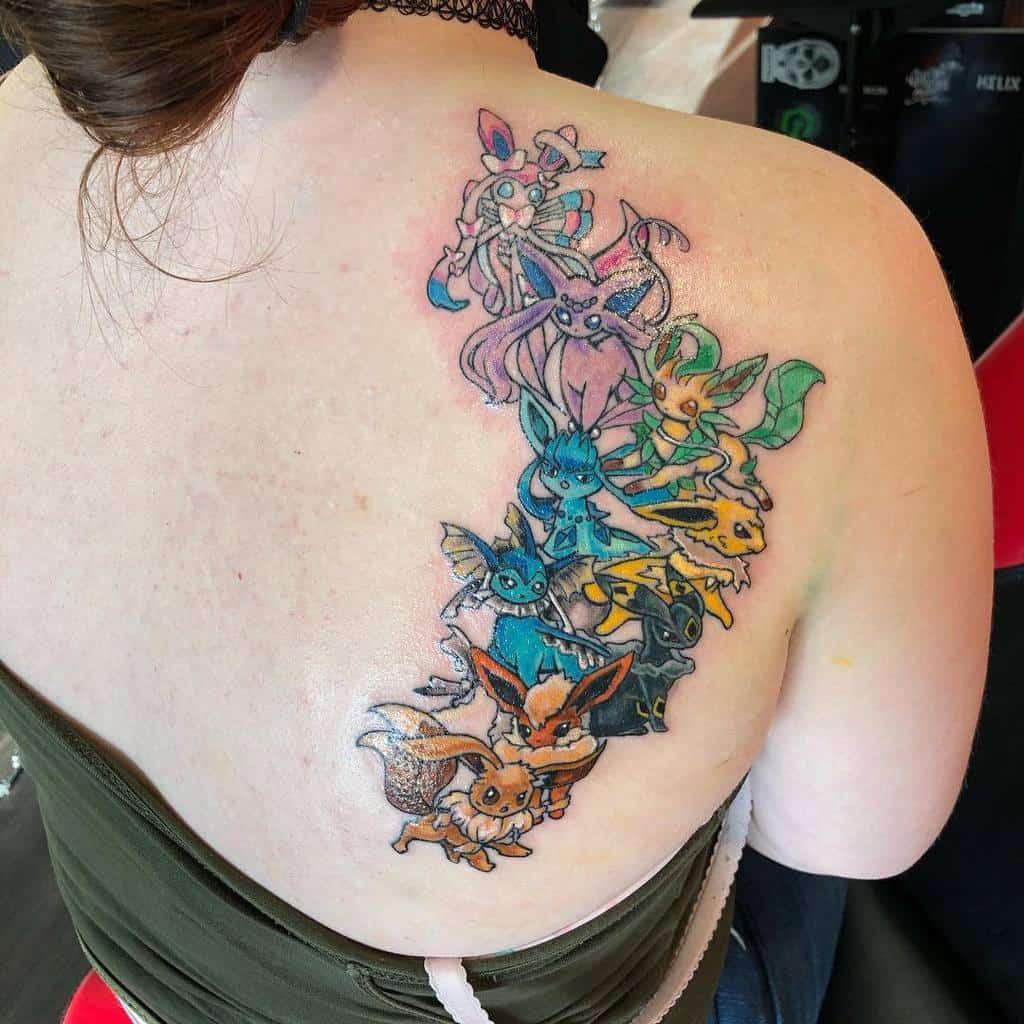 Eeveelutions Eevee Tattoos Black Engine Tattoo Co