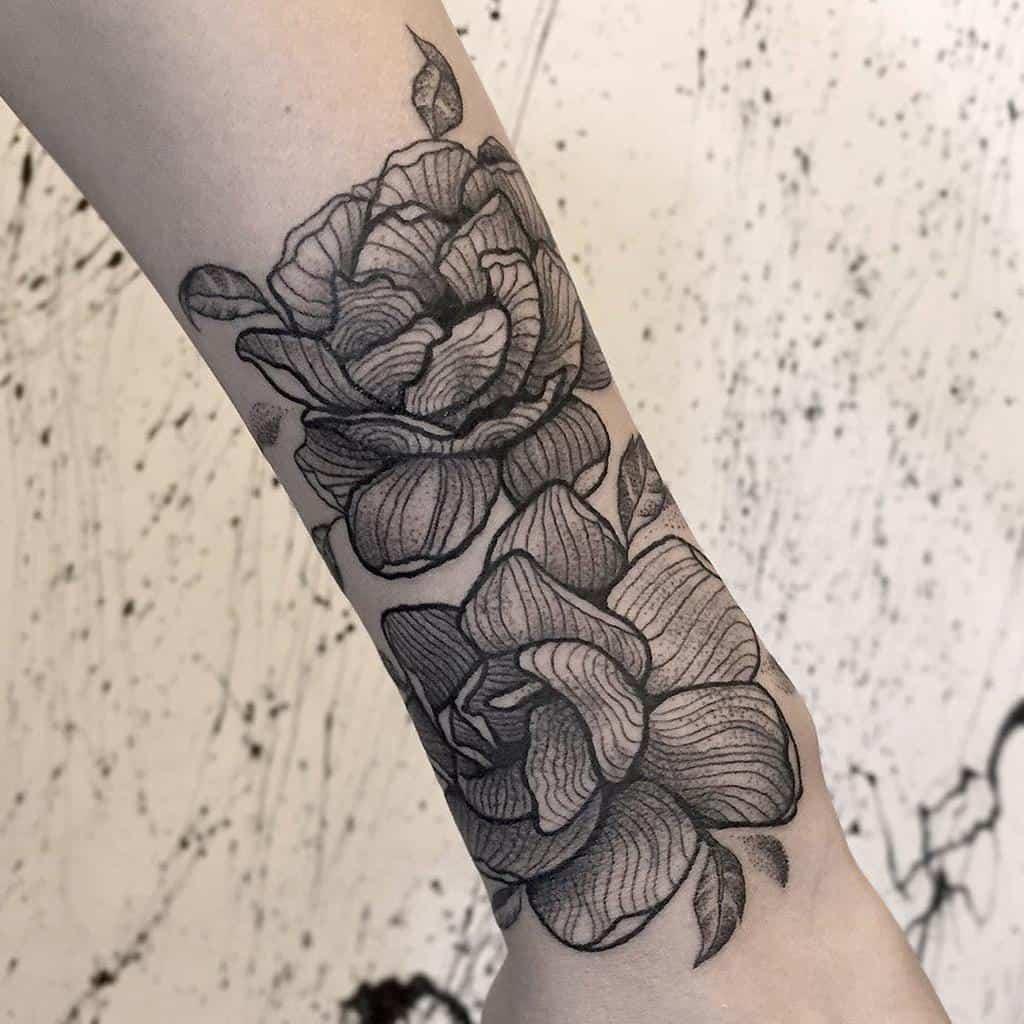 Tatouages de fleurs de jasmin Blackwork Cologede