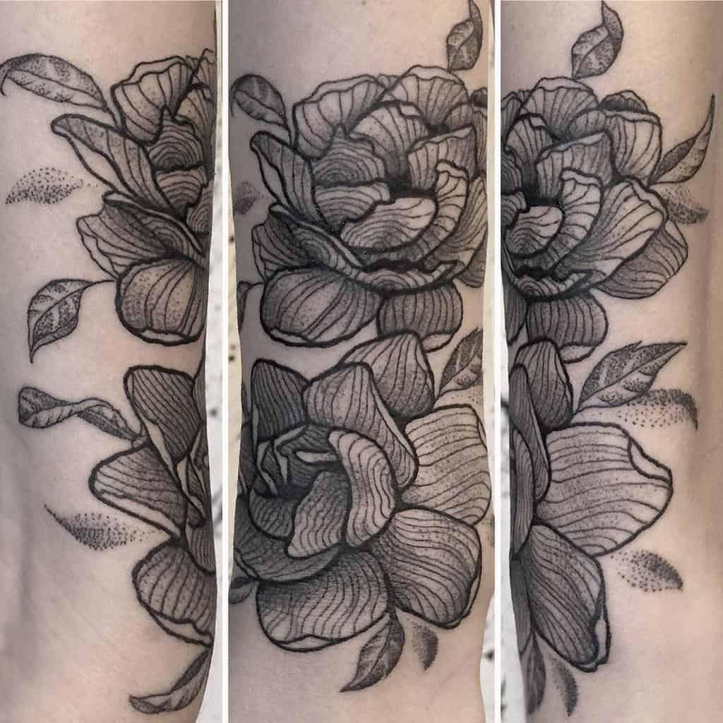 Tatouages de fleurs de jasmin Blackwork Cologede 2