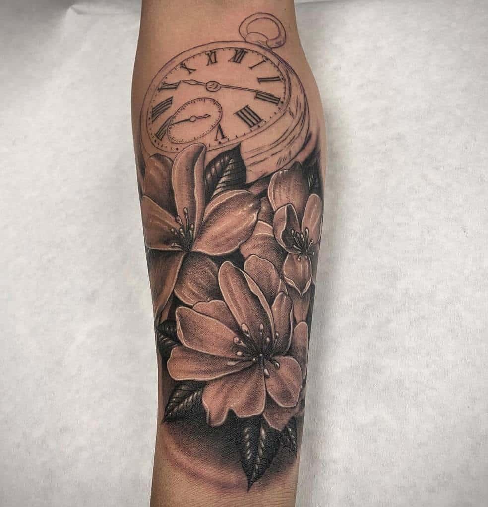 Tatouages de fleurs de jasmin Blackwork Jpeaces
