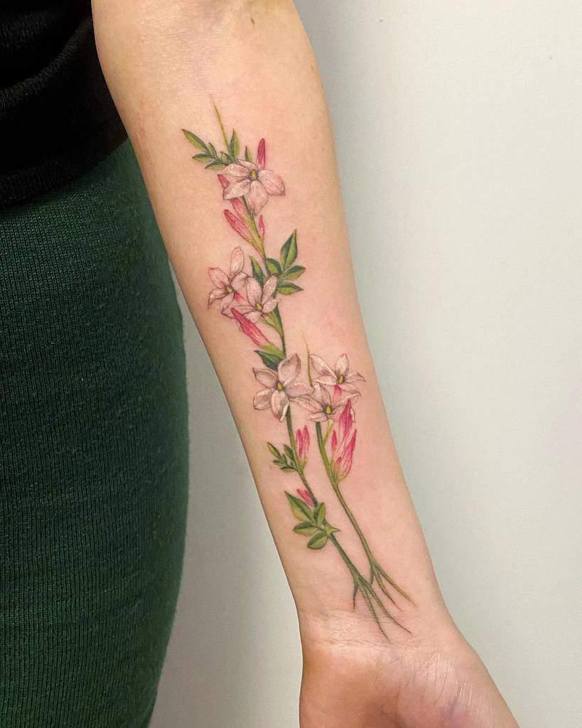 Tatouages réalistes de fleurs de jasmin Noemesystattoo
