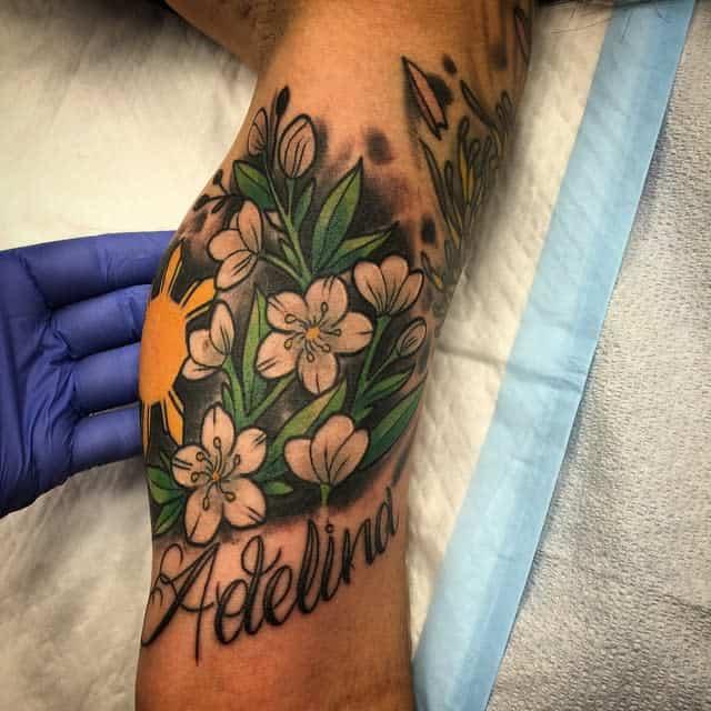 Tatouages de fleurs de jasmin à l'aquarelle Artoftatt2