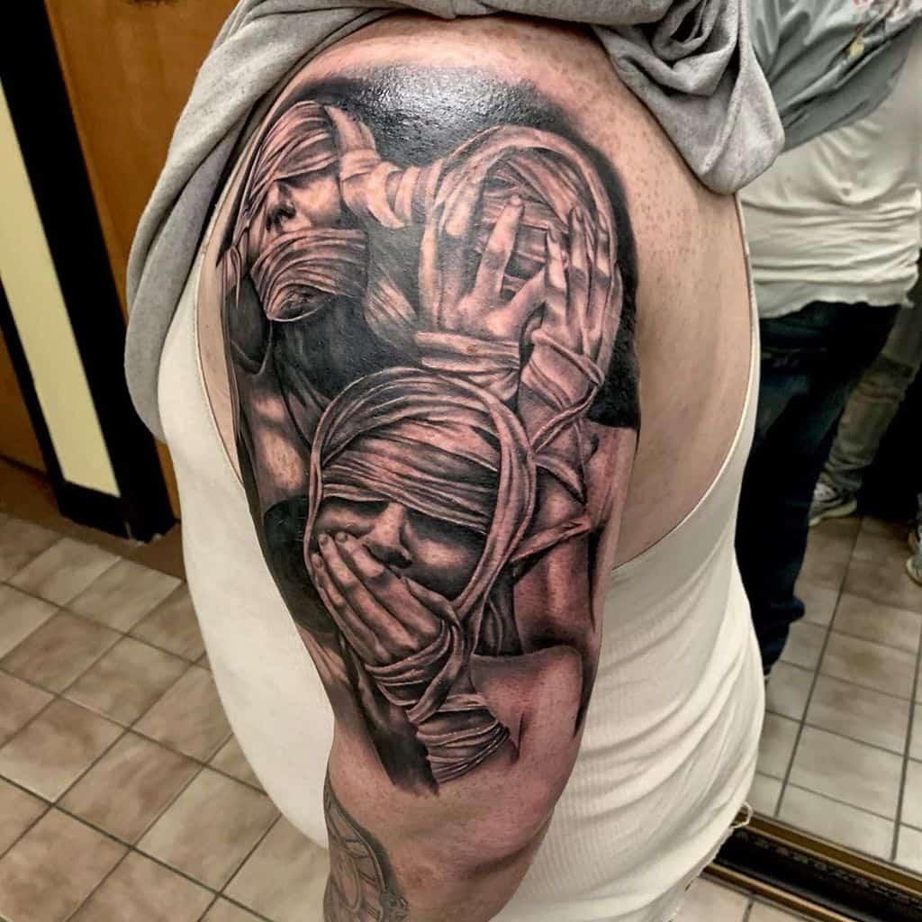 Arm Hear No Evil See No Evil Speak No Evil Tattoos Justinlynntattoos