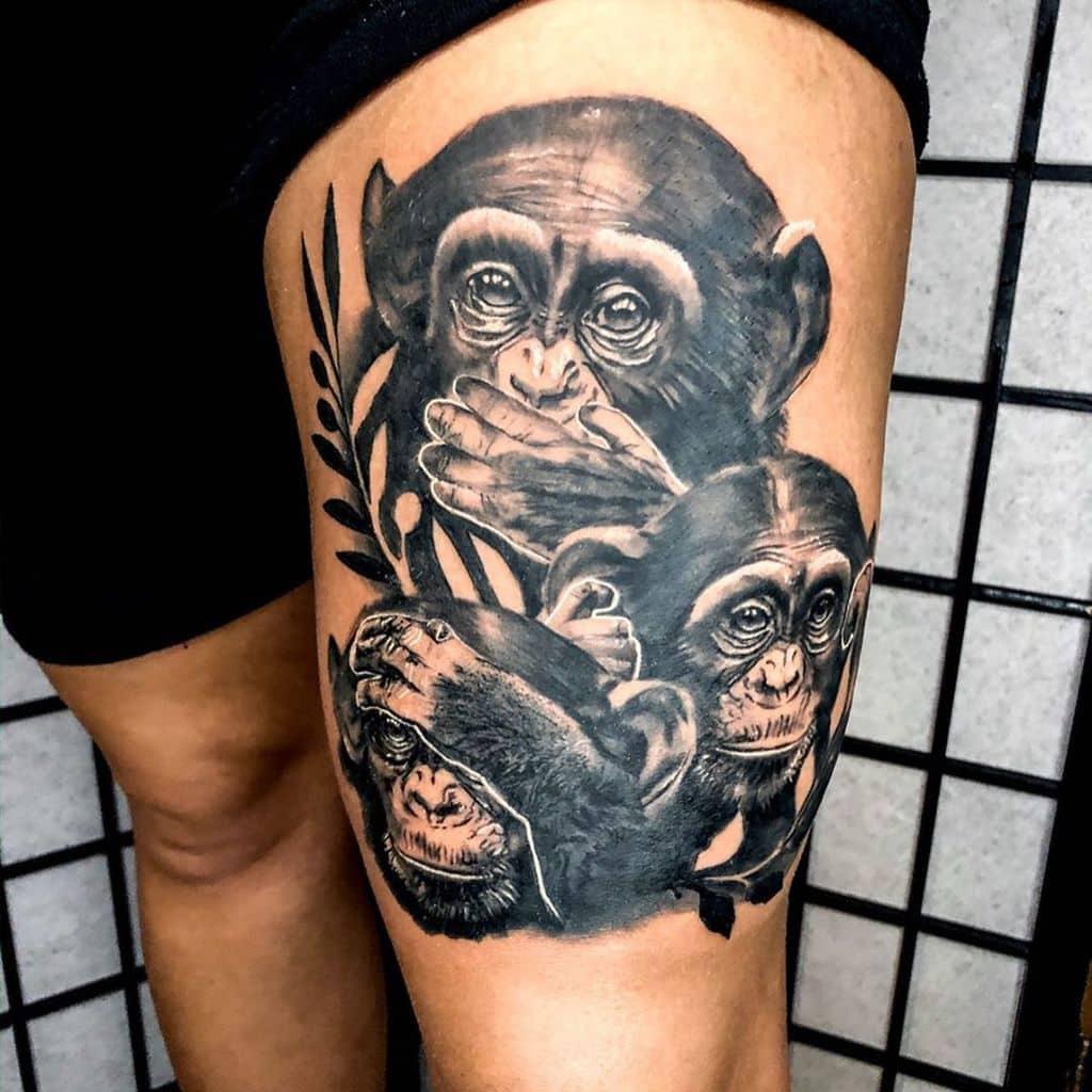 Le singe n'entend pas le mal, ne voit pas le mal, ne parle pas du mal Tatouages Jayke Cox